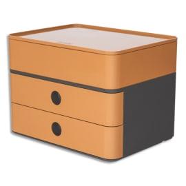 HAN Boite rangement SMART-BOX ALLISON 2 tiroirs + 1 boîte à ustensiles Dim (lxhxp) : 26x19x19,5cm caramel photo du produit