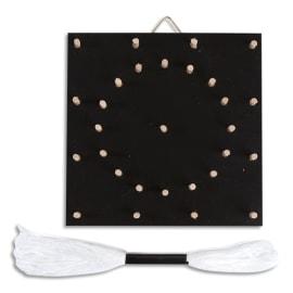 GRAINE CREATIVE Tableau en bois Noir motif rosace pour faire un tableau en fil, 110x110x20mm photo du produit