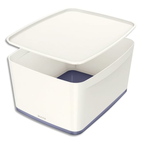 LEITZ Boîte MYBOX medium avec couvercle en ABS. Coloris Blanc fond Gris photo du produit Principale L