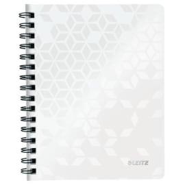 LEITZ Cahier spiralé WOW 14,8x21cm, 160 pages lignées. Couverture souple polypropylène. Coloris Blanc photo du produit