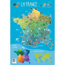 CBG Poster souple format 52 x 76cm carte de France et ses spécialités photo du produit