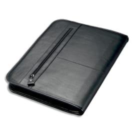 JUSCHA Conférencier Noir Limone cuir. 36x28,5x4cm. Livré bloc-notes et mécanime amovible 4 anneaux photo du produit