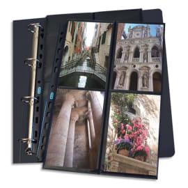 OXFORD Sachet de 10 pochettes perforées en polypro 9/100e. Format A4. 4+4 photos 10x15cm. Noir photo du produit