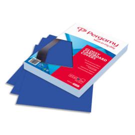 PERGAMY Boîte de 100 plats de couverture brillants A4 250gr Bleu 900029 photo du produit