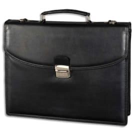 ALASSIO Serviette classique Noire ne simili cuir, 2 compartiments + poches - Dim. L38 x H31 x P9,5 cm photo du produit