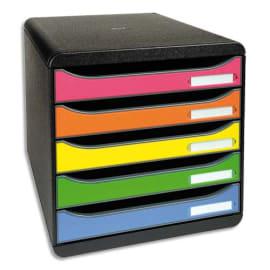 EXACOMPTA Module de classement 5 tiroirs BIG BOX - Dim : L27,8 x H26,7 x P34,7 cm. Coloris Noir/arlequin. photo du produit