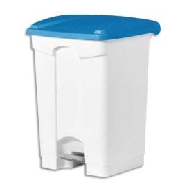 Collecteur à pédale Blanc couvercle Bleu en polyéthylène 45 Litres - Dim. : L41 x H60 x P39 cm photo du produit