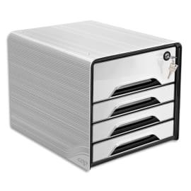 CEP Bloc class Smoove Secure Noir/Blanc 1 maxi tiroir qui ferme à clé+3 tiroirs std L36xH27,1xP28,8cm photo du produit