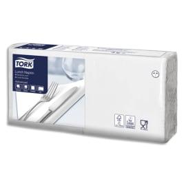 TORK Paquet de 200 Serviettes LunchNap Blanches 2 plis - Format : 33 x 33 cm Ecolabel photo du produit