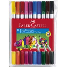 FABER CASTELL Pochette 10 feutres de coloriage. Double pointe : fine & moyenne. Coloris assortis photo du produit