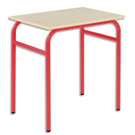 SODEMATUB Lot de 4 tables scolaire monoplace, hêtre, Rouge - Dimensions : L70 x H74 x P50 cm, taille 5 photo du produit