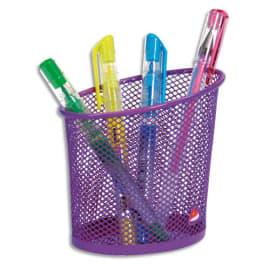 ALBA Pot à crayons en métal Mesh - Diamètre 6, hauteur 10,5 cm coloris Violet photo du produit