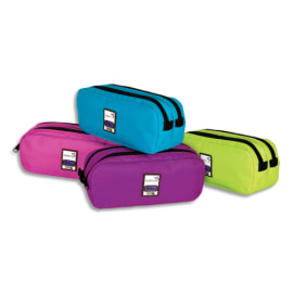 VIQUEL Trousse TEKNIK rectangle 2 compartiments 22x10x7cm Nylon -Assortis : Violet, Rose, Turquoise, anis photo du produit