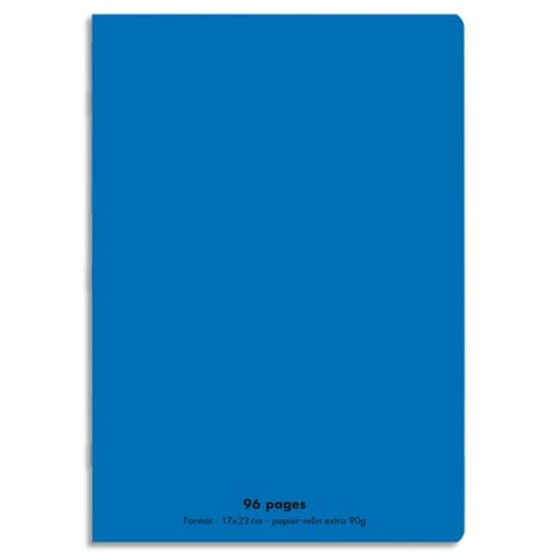 CONQUERANT C9 Cahier piqûre 17x22cm 96 pages 90g grands carreaux Séyès. Couverture polypropylène Bleu photo du produit Principale L