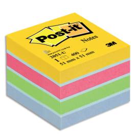 POST-IT Mini bloc cube 400 feuilles 5.1x5.1cm couleur ultra photo du produit