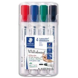 STAEDTLER Pochette de 4 marqueurs effaçables à sec pointe ogive encre alcool 4 couleurs assorties 351 photo du produit