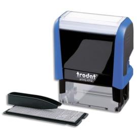 TRODAT Timbre personnalisable 4 lignes - Printy 4912 4.0 Bleu. 2 plaq.compo+1 recharge Noir. Police 3-4mm photo du produit