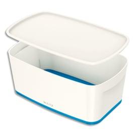LEITZ Boîte MYBOX small avec couvercle en ABS. Coloris Blanc fond Bleu photo du produit