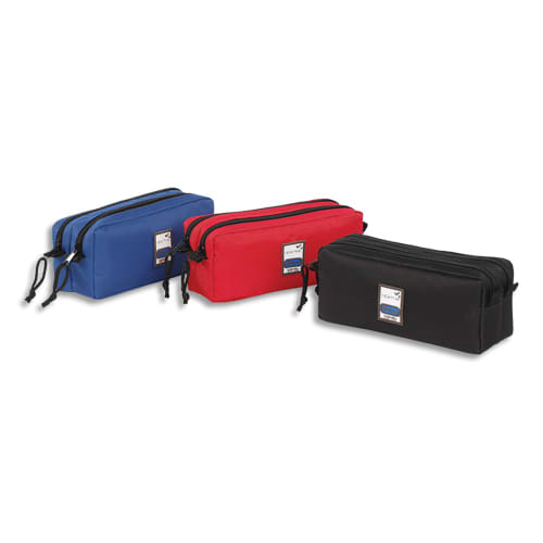 VIQUEL Trousse TEKNIK - Rectangle 2 compartiments : 22x9x7cm Nylon - Assortis : Rouge, Noir, marine photo du produit Principale L
