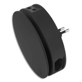 MOBILITY LAB Multiprise USB+enrouleur Aero Noire 2 ports USB-A + 2 prise E&F AEROBLK photo du produit