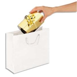 Paquet de 25 sacs pelliculés Blanc avec poignées cordelières assorties 40 x 32 x 12 cm photo du produit