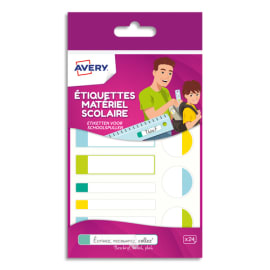 AVERY Sachet de 24 Etiquettes Plastifiées Blanc avec bordure Vert/Bleu/Jaune/Rouge, format assortis photo du produit