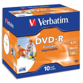 VERBATIM Pack de 10 boîtiers cristal DVD-R imprimables 4,7Go 16x 43521 photo du produit