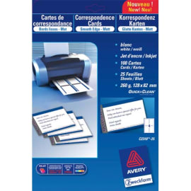 AVERY Pochette de 100 cartes de correspondance 82x128mm Quick&Clean 260g impression recto verso photo du produit