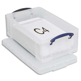 RLU Boîte de rangement 12 Litres + couvercle - Dimensions : L46,5 x H15 x P27 cm coloris transparent photo du produit