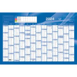 QUO VADIS Calendrier 12 mois par face avec vacances scolaires en haut, format 67,5 x 43 cm Bleu photo du produit