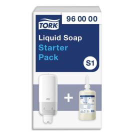 TORK Pack S1 Starter Distributeur de savon + recharge d'1 litre de savon liquide doux parfumé photo du produit