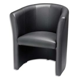Chauffeuse Club finition en simili cuir Noire, structure en bois - Dimensions : L76 x H64 x P78 cm photo du produit