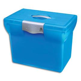 OXFORD Valise classement CLASS N Go, en polypro Bleu translucide cadenassable. Livré avec 5 dossiers photo du produit