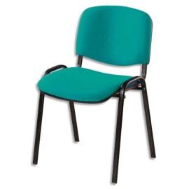 Chaise de conférence Iso Classic en tissu polyfibre Vert, structure 4 pieds en métal époxy Noir photo du produit