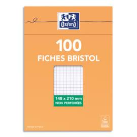 OXFORD Boîte distributrice 100 fiches bristol non perforées 14,8x21cm (A5) petits carreaux 5x5 Blanc photo du produit