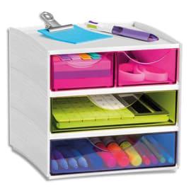 CEP Bloc de rangement 3 tiroirs, 4 compartiments. Dim: L18,6 x P18,5 x H17,5 cm. Coloris Blanc/Assortis photo du produit