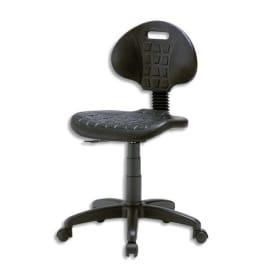 Chaise technique en PU Noire hauteur standard avec repose-pieds sur roulettes, réglable en hauteur photo du produit