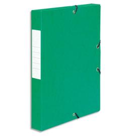PERGAMY Boîte de classement à élastique en carte lustrée 7/10, 600g. Dos 40mm. Coloris Vert. photo du produit