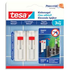 TESA Boïte de 2 Clous adhésifs ajustables pour carrelage et métal, charge 3 kg - Dim L1,3 x H14 x P1,4 cm photo du produit