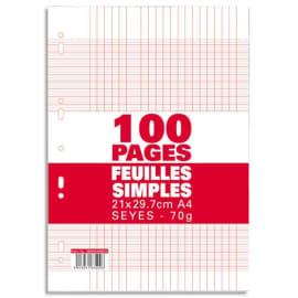 Sachet de 100 pages copies simples grand format A4 grands carreaux Séyès 70g perforées photo du produit