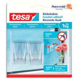 TESA Boîte de 2 Crochets adhésifs transparents, transparent et verre, charge 1kg Dim L1,1 x H14 x P1,4 cm photo du produit