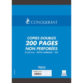 CONQUERANT C7 Copies doubles non perforées Blanches 21x29,7cm 200pages 5x5 70g - Sous étuis photo du produit