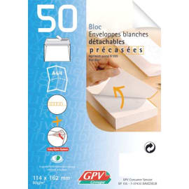 GPV Bloc de 50 enveloppes post bloc 90 grammes format 110x220 mm photo du produit