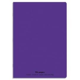 CONQUERANT C9 Cahier piqûre 17x22cm 96 pages 90g grands carreaux Séyès. Couverture polypropylène Violet photo du produit