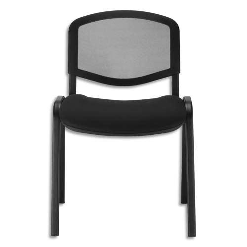 Chaise de conférence Iso Ergo Mesh dossier résille et assise tissu Noir, 4 pieds tube époxy Noir photo du produit Principale L
