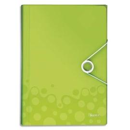 LEITZ Trieur ménager WOW en polypropylène. 5 compartiments, fermeture par élastique. Coloris Vert. photo du produit