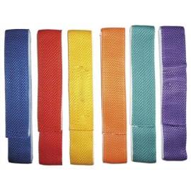 Lot de 6 liens de coordination en tissu 60cm x 4 cm, avec bande velcro couleurs assorties photo du produit