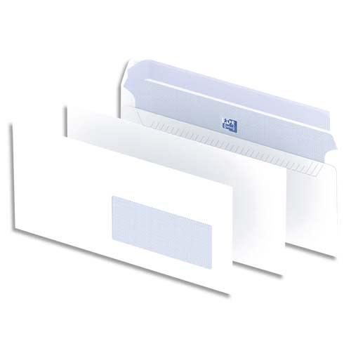 OXFORD Boîte de 500 enveloppes Blanches auto-adhésives 90g format DL 110x220 mm avec fenêtre 45x100 mm photo du produit Principale L