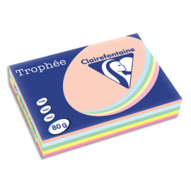 CLAIREFONTAINE Ramette 5x100F papier couleur Trophée 80g A4 assortis pastel Rose,canari,vert,Bleu,Saumon photo du produit