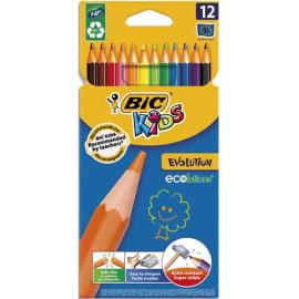 BIC Etui carton de 12 crayons de couleur EVOLUTION. Longueur 17,5cm. Coloris assortis photo du produit
